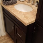 A view of the bathroom vanity cabinet and sink in Nutley, NJ.
