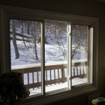 A new three-lite Alside slider replacement window installed with new trim in Hopatcong, NJ.