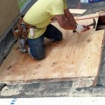 Installing new plywood where the old plywood had rotted in Hopatcong, NJ.