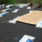 The low-pitch area of the house with new ice and water shield. GAF shingles waiting to be installed.