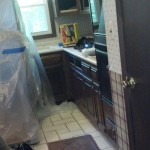 View of the kitchen before renovation and gut in Chatham, NJ.