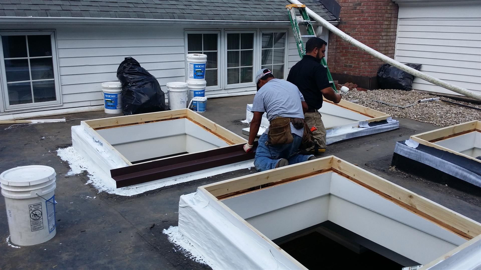 Far hills nj flat roof repair and skylight replacement for Large skylights